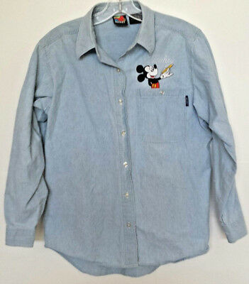 Disney Mickey Mouse Women's Chambray Denim Shirt Jerry Leigh Vintage 90's Small