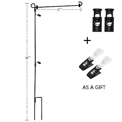 Wrought Iron Yard Garden Flag Stand Pole 36 Black Post Outdoor Decor Holder Easy