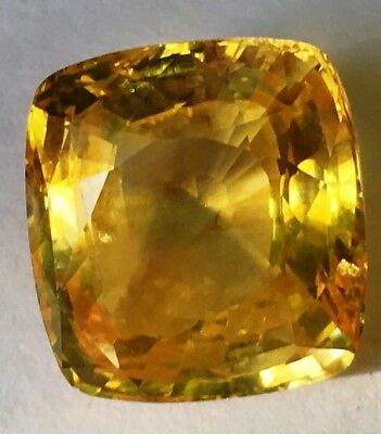 13.8 ct Yellow Sapphire- exceptional stone 13.1 x 12.5 x 7.6 mm cushion shape