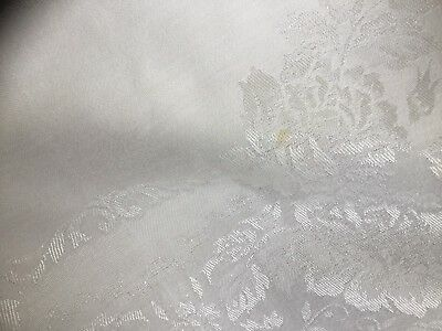 TABLECLOTH - WHITE DAMASK - 1940's SQUARE - VINTAGE / RETRO / ANTIQUE