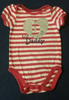 "Pink White Striped Silver Gitter Heart ""D is for Daddy"" Girls Bodysuit 9-12M"