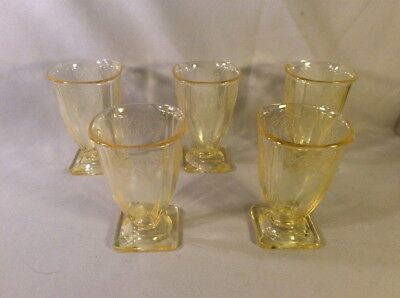 Indiana Depression Glass Basket  Lorain Canary Yellow 5 Footed Tumblers