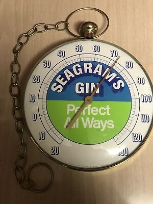 """Working Seagrams's Gin advertising  thermometer """"Perfect All Ways"""""""