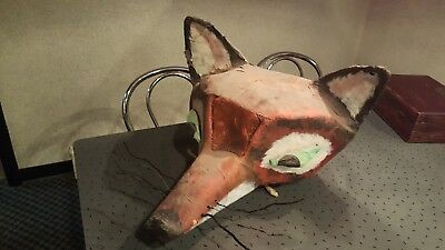 Vintage Antique Halloween Paper Mache Fox Head Mask Costume Theater Mascot