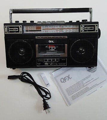 Cassette Boombox + Shortwave + USB + added Bluetooth : QFX J22U ReRun -excellent