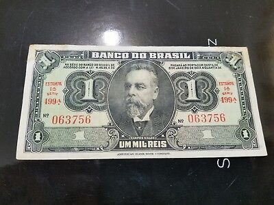 "Brazil,1 Mil Reis Banknote, Very Fine Condition  not ""Handsigned"""
