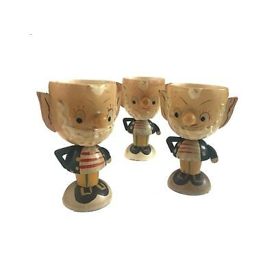 Vintage Retro wooden Noddy and Big Ears Egg Cups 50s 60s