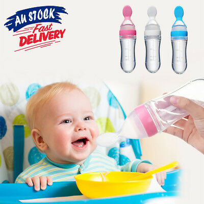 Silicone Baby supplement Bottle Feeder Squeeze Feeding Spoon Food Rice Cereal