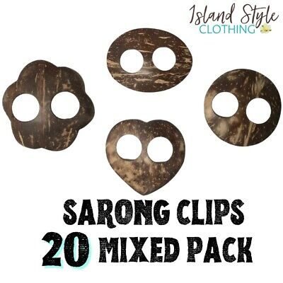 20 Pack Sarong Clips Mixed Shapes Coconut Buckles Random Designs