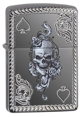 Zippo Windproof Armor Lighter With Ace Of Spades & Skull Image 29666, New In Box