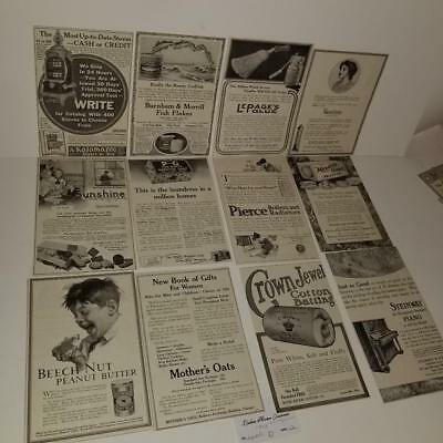 12 lg ads antique Ladies Magazine advertising lot vintage paper clippings 1912 D