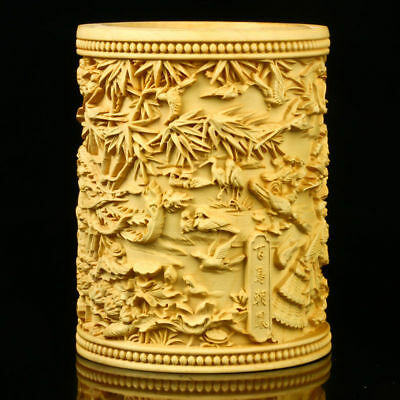 Chinese Boxwood Hand-carved Phoenix & Birds Brush Pot