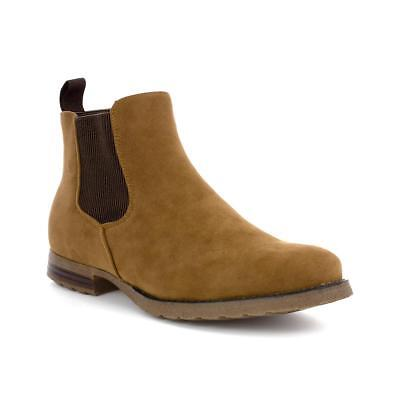 Beckett Mens Tan Faux Suede Chelsea Boots - Sizes 6,7,8,9,10,11,12