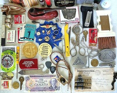 Vintage Junk Drawer Collectibles Lighters Belt Buckles $Canada Pipe +Stand Misc