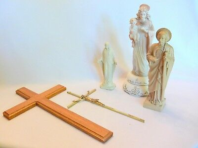 Vintage Assortment of Crucifixes and Statues