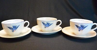 Antique Sebring Pottery Co Bluebird Pattern 3 Teacups and Saucers