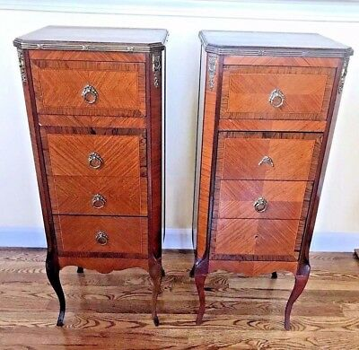 Pair Of Antique French Louis XV Style End Side Nighstand Tables 4 Drawer