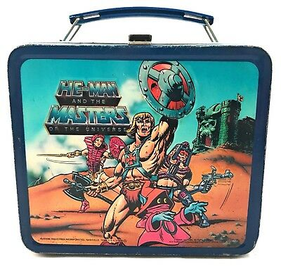 He-Man and The Masters Of The Universe Lunch Box - Blue Vintage 1984 Aladdin