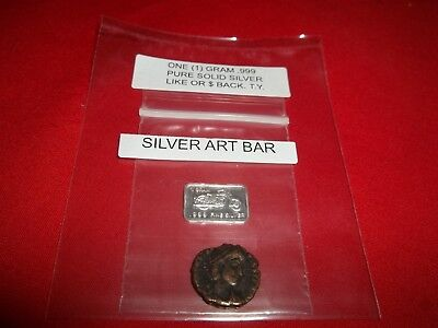 Authentic Ancient ROMAN 1x Coin and 1x gram .999 Solid Silver Art-Bar