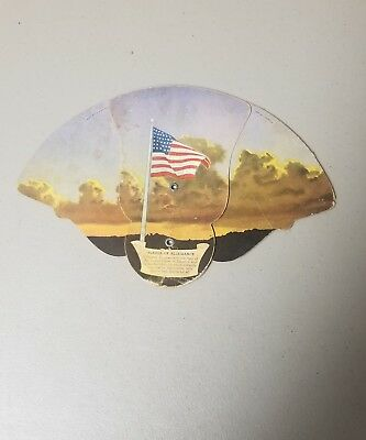 Vintage 1940s WWII PATRIOTIC HAND FAN Flag Pledge Newton NC Funeral Home PH 2