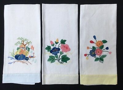 3x Vintage Linen Hand Towels Hand Embroidered And Applique