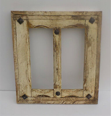 "SPANISH COLONIAL ANTIQUE WINDOWED DOOR PANEL OLD MEXICO 20 1/2"" x 18 3/4""  d"
