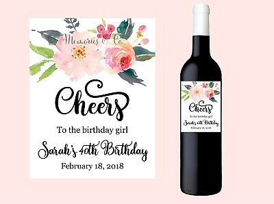 4x Personalised Birthday Wine Label - Happy Birthday, Floral Thank you label
