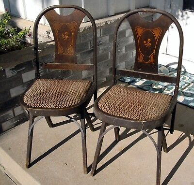 Vintage 1920 1930 Louis Rastetter Solid Kumfort Wood Folding Chairs ANTIQUE