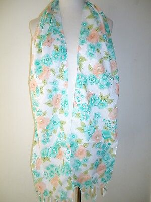 Glentex oblong neck scarf wrap bright green white peach flowers design New
