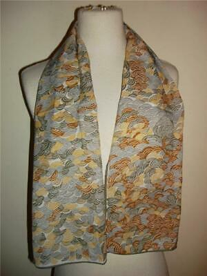 Glentex Oblong scarf Neck Head wrap Gray Brown Yellow Clouds wave design New