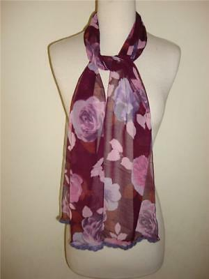 Glentex oblong scarf wrap purple flower print new