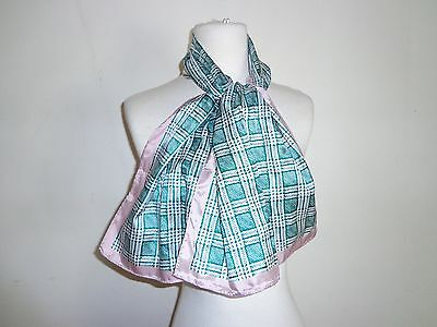 Glentex Oblong Scarf Neck wrap white pink green checker design  New