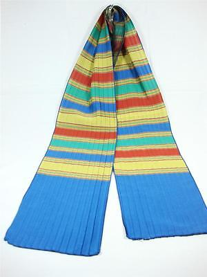 Glentex Oblong Scarf Neck wrap Pleated blue red green colors striped design New