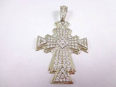Vintage 925 silver gold plated necklace pendant superb large cross crystals 3.2""