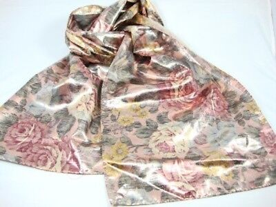 Glentex Oblong scarf Neck Head wrap Metallic Gold shiny pink blue flower roses