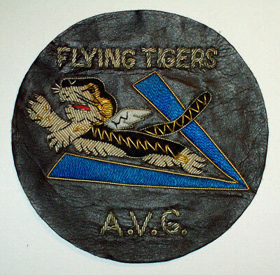 """Vintage A.v.g. American Volunteer Group """"flying Tigers"""" Bullion / Leather Patch"""