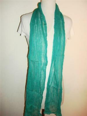 Glentex oblong plain green color cotton Neck wrap scarf hand rolled borders new