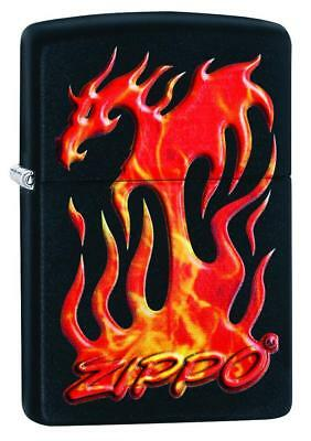 Zippo Windproof Lighter With Flaming Dragon & Zippo Logo, 29735 New In Box