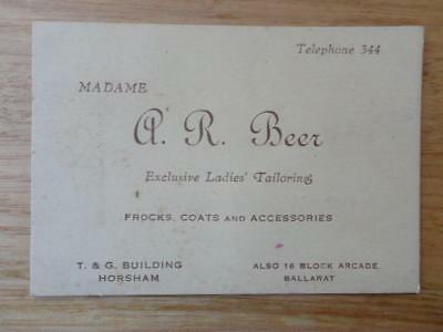 Vintage Business Card Madame A.R.. Beer Exclusive Ladies Tailoring 1930's?