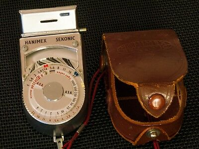 Vintage Hanimex Sekonic light meter with leather case and lanyard