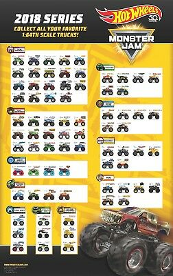 2018 Hot Wheels Monster Jam 1:64 Truck with Re-Crushable Car (Assortment Choose)