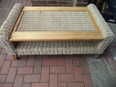 Cane Wicker Extra Large Coffee Table With Glass Top - Collect From Bury Bl9