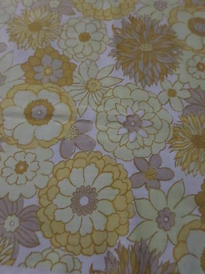 Retro Vintage Yellow Brown And Orange Floral Cotton Fabric....