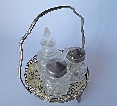 Vintage CRUET Set Depression Glass with silver metal stand with handle doily