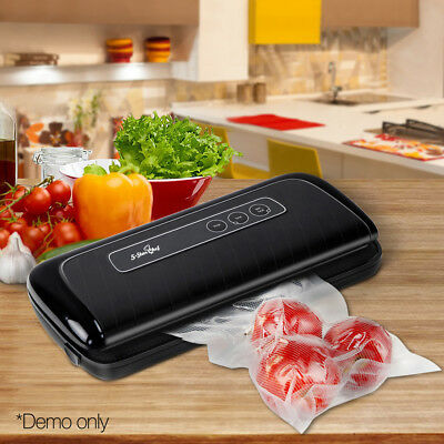 Vacuum Food Sealer Machine Saver Storage Preservation Heat BONUS Bag Rolls Black