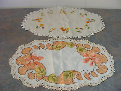 2 Vintage Crochet Edged Hand Embroidered Oval Linen Doileys - Good Cond.