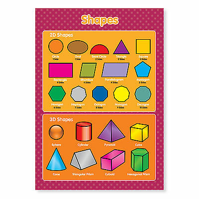 A4 laminated NEW 2D and 3D Shapes Geometric Maths Educational Poster