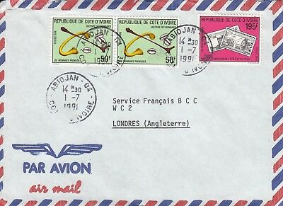 G 2975 Abidjan Ivory Coast July 1991 air cover UK; 3 stamps