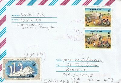 K 1953, Ulaaan Baatar Mongolia  March 2011 air cover UK, via Moscow. 3 stamps