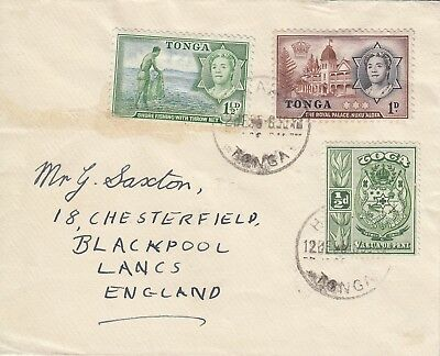 K 2117 Tonga December 1955 cover to England; 3 stamps 3d rate